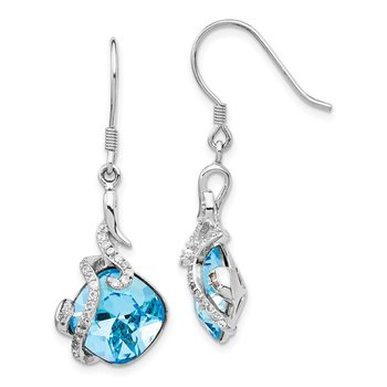 Sterling Silver Rhodium-plated Clear & Blue Cushion Crystal Dangle Earrings