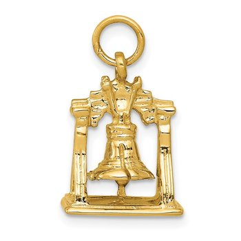 14k Solid Polished 3-D Liberty Bell Charm