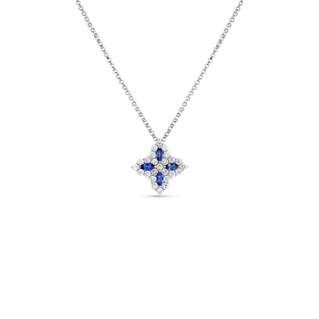18K Diamond & Sapphire Medium Flower Pendant