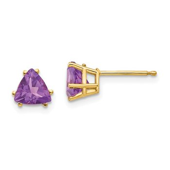 14k 6mm Trillion Amethyst Earrings