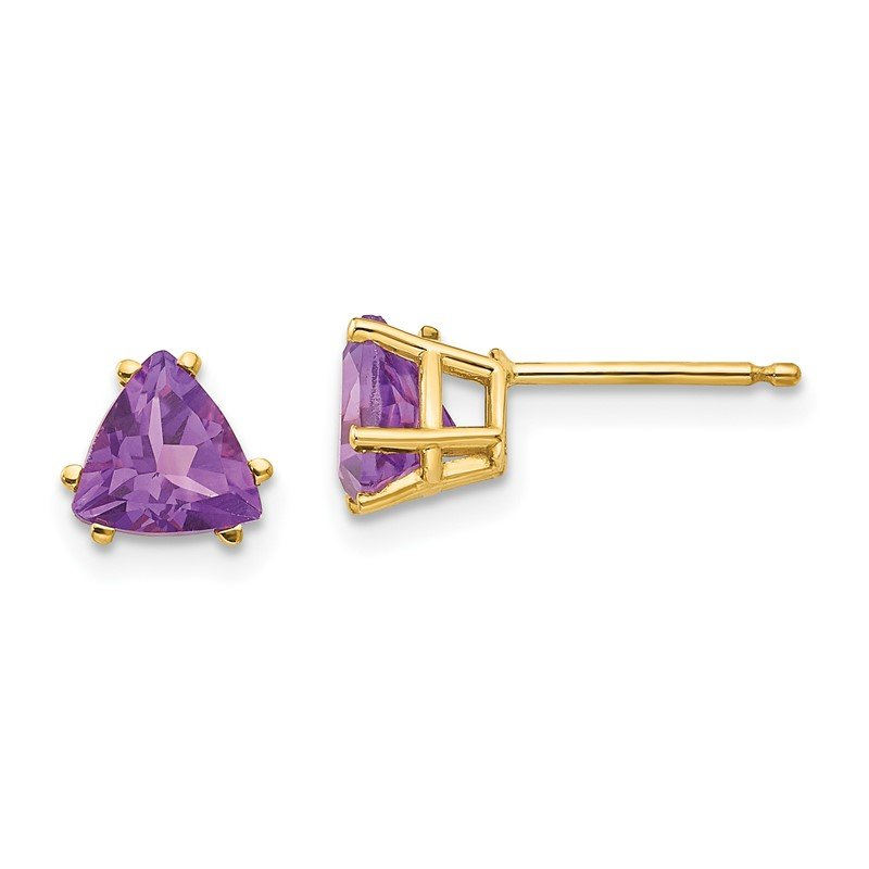 Quality Gold 14k 6mm Trillion Amethyst Earrings