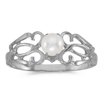 10k White Gold Freshwater Cultured Pearl Filagree Ring