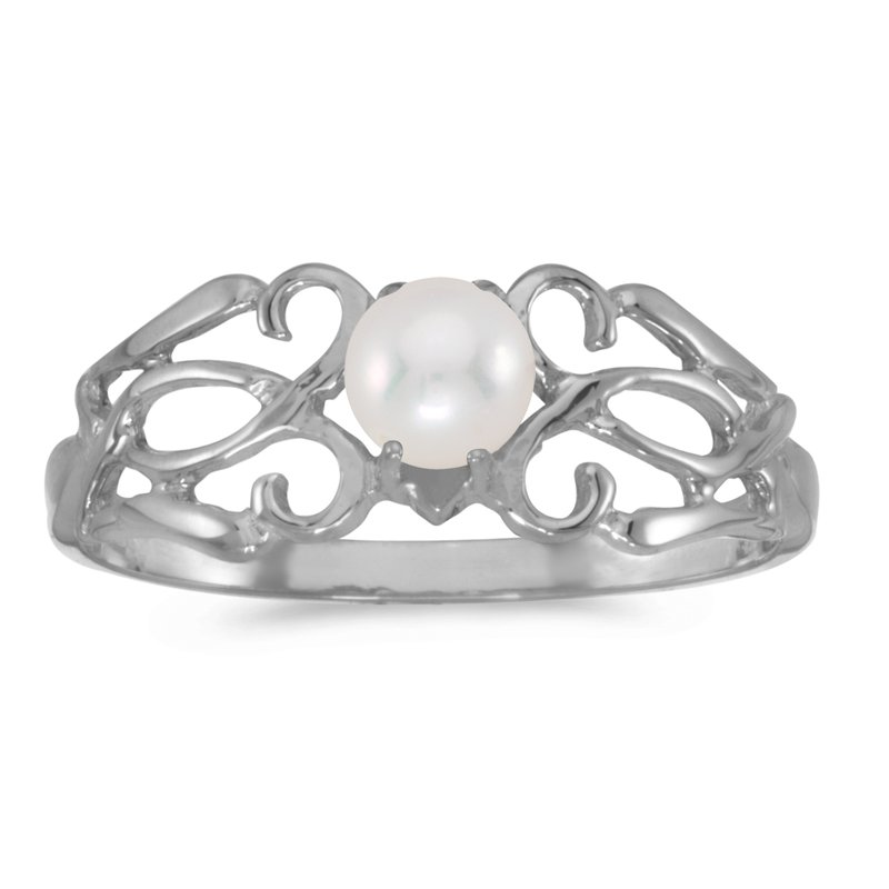 Color Merchants 10k White Gold Freshwater Cultured Pearl Filagree Ring