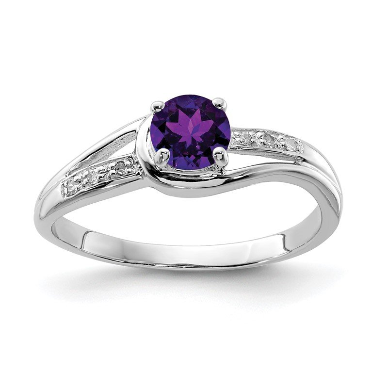 Quality Gold Sterling Silver Rhodium Plated Diamond and Amethyst Round Ring