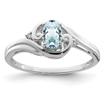 Sterling Silver Rhodium Plated Diamond & Aquamarine Ring