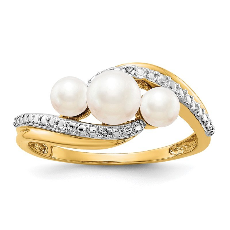 Quality Gold 14k Diamond and FW Cultured 3-Pearl Bypass Ring