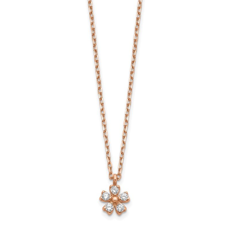 Quality Gold 14K Rose Gold CZ Flower w/ 1in ext. Necklace