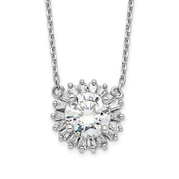 Sterling Silver Rhodium-plated CZ w/2in ext. Fancy Necklace