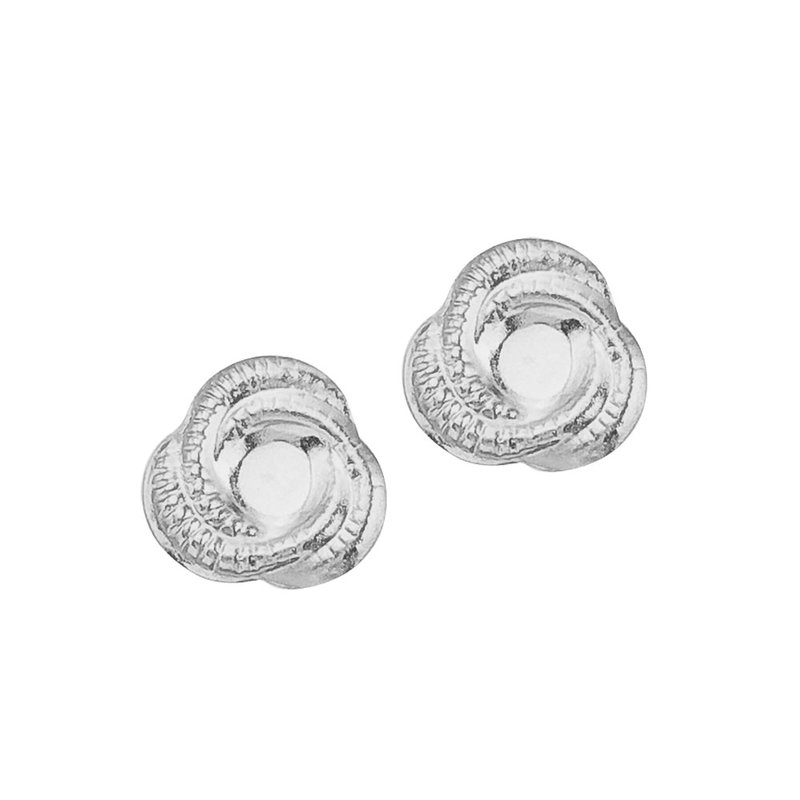 Color Merchants 14K White Gold Baby Knot Screwback Earrings