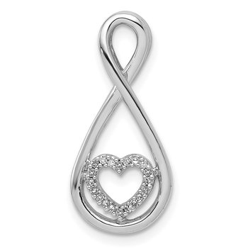 Sterling Silver Rhodium Diam. Heart in Teardrop Pendant