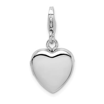 Sterling Silver Rhodium-plated Polished Lobster Clasp 12mm Heart Locket