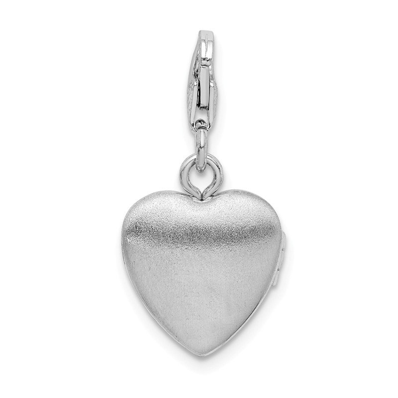 Quality Gold Sterling Silver Polished Lobster Clasp 12mm Heart Locket