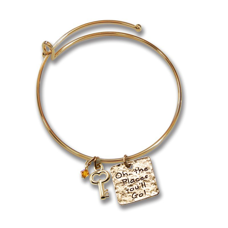 Quality Gold Gold-tone Key & Places Youll Go Charm Graduation Bangle