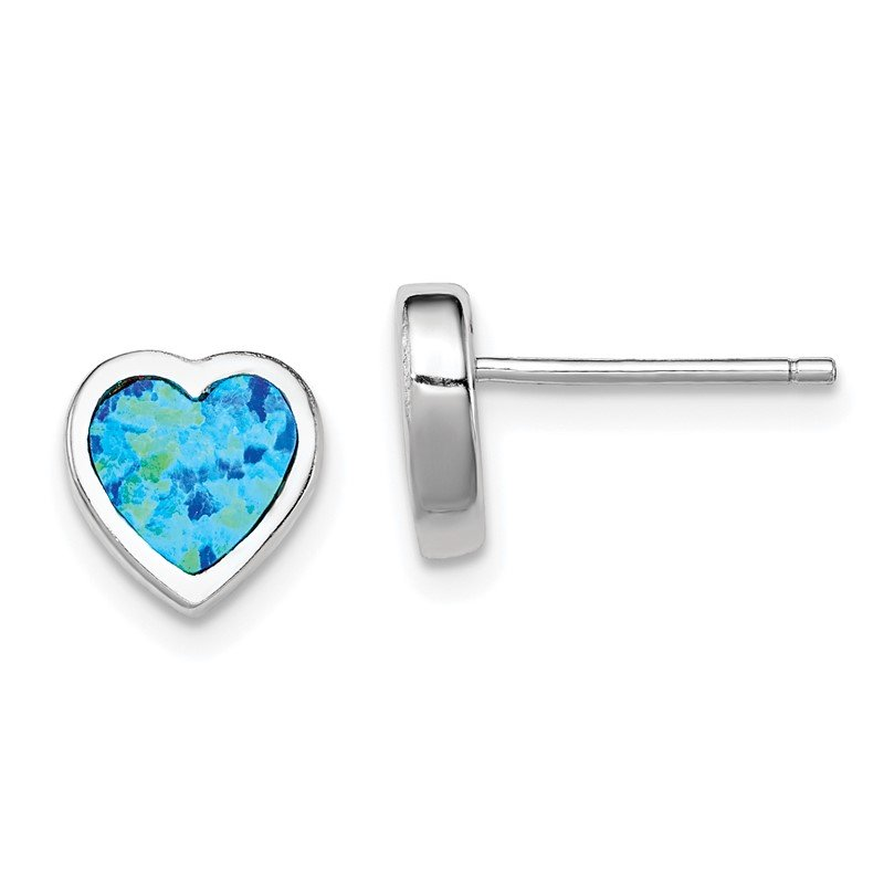 Quality Gold Sterling Silver Rhodium-plated Lab Created Opal Heart Post Earrings
