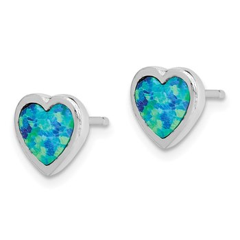 Sterling Silver Rhodium-plated Lab Created Opal Heart Post Earrings