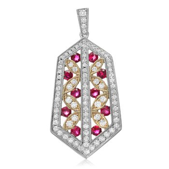 Tricolored Ruby & Diamond Pendant