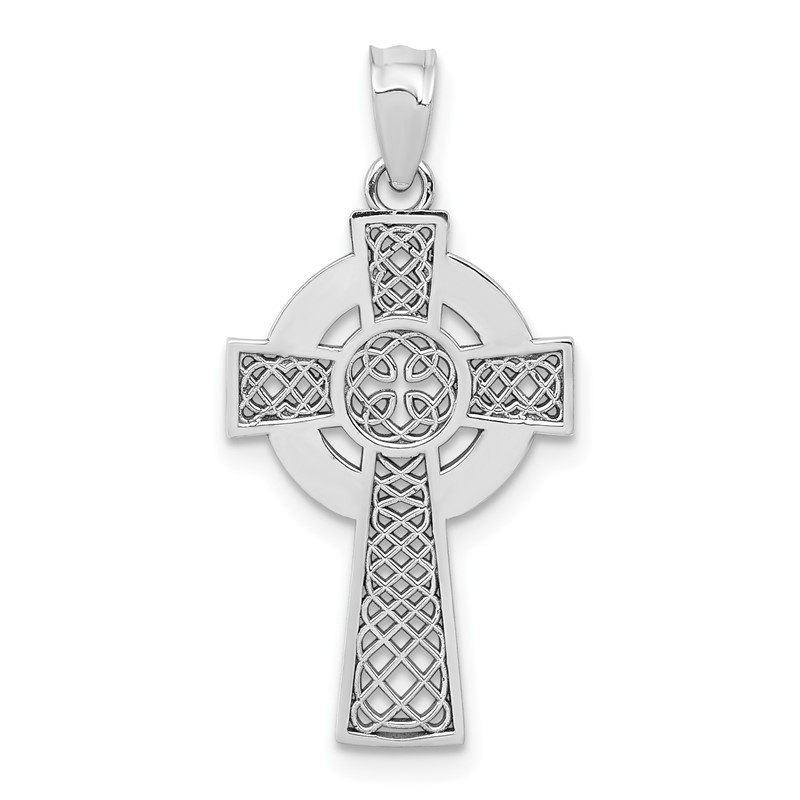 Quality Gold 14k White Gold Celtic Cross Pendant