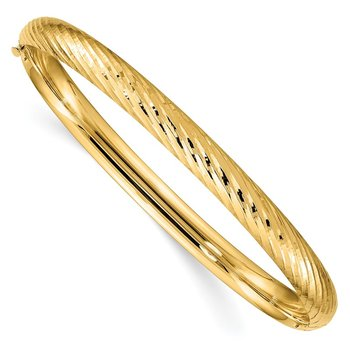 14k 4/16 Textured Hinged Bangle