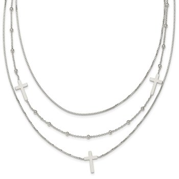 Sterling Silver Polished Multistrand Sideways Cross 18in Necklace