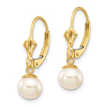 14K 6-7mm White Round Freshwater Cultured Pearl Leverback Earrings