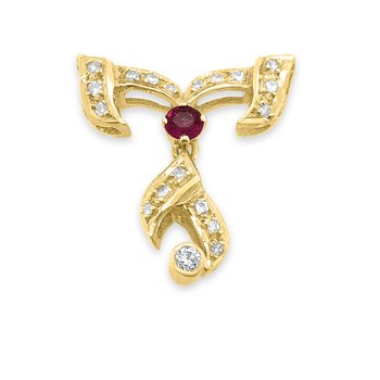 18K Yellow Gold Diamond Natural Ruby Pendant Component