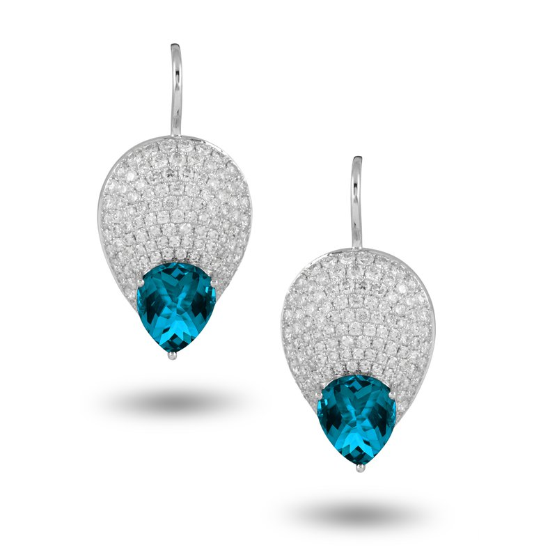 Doves London Blue Topaz & Pave Diamond Earrings