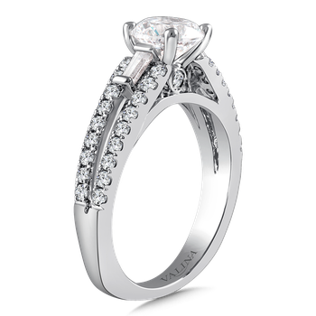 Diamond Engagement Ring Mounting in 14K White Gold with Platinum Head (.51 ct. tw.)