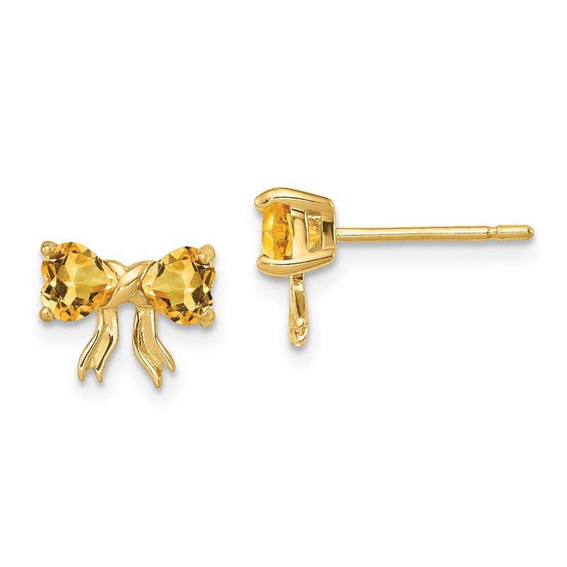 JC Sipe Essentials 14k Gold Polished Citrine Bow Post Earrings