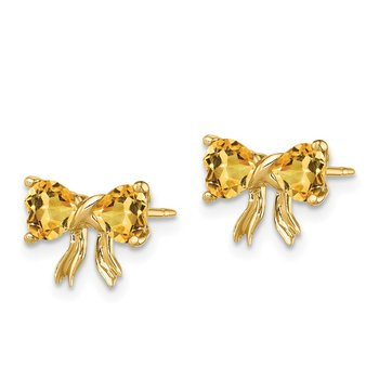 14k Gold Polished Citrine Bow Post Earrings