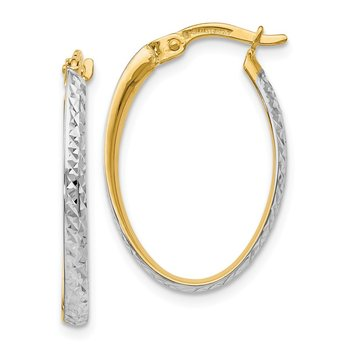 Leslie's 14k w/White Rhodium Diamond-cut Oval Hoop Earrings