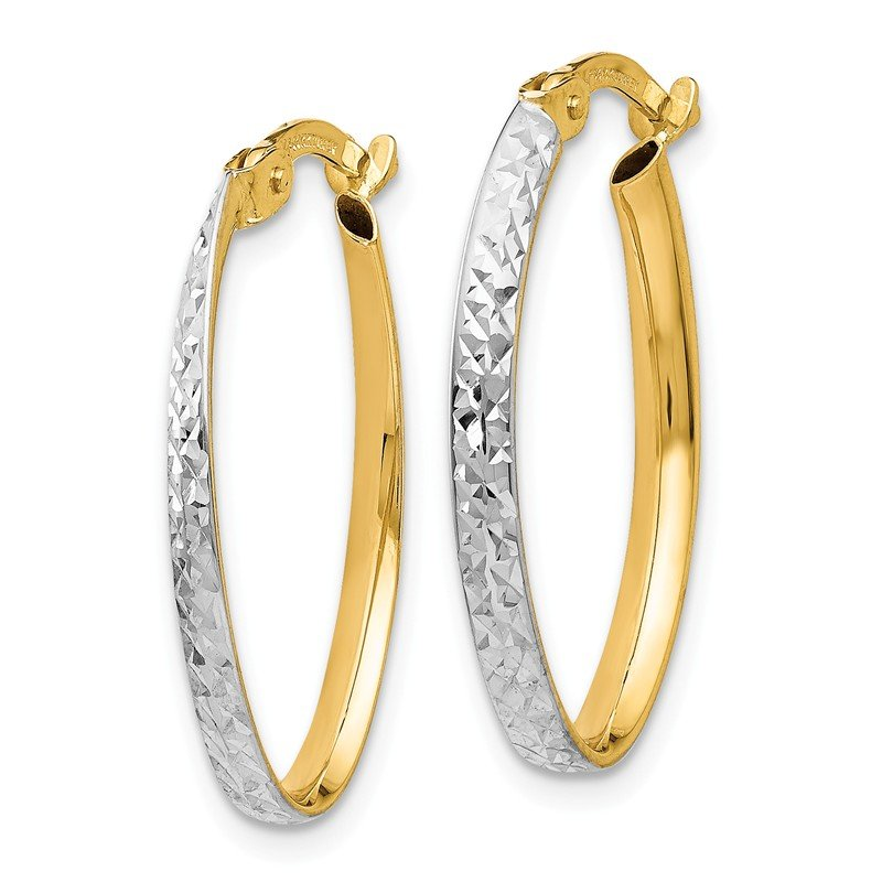 Leslie's Leslie's 14K w/White Rhodium D/C Oval Hoop Earrings