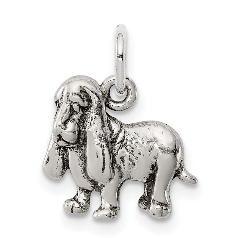 Quality Gold Sterling Silver Antiqued Basset Hound Charm