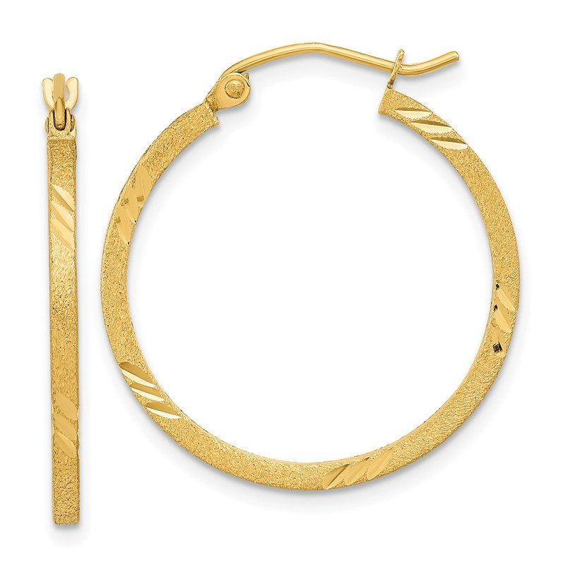 Quality Gold 14k Satin & D/C Square Tube Hoop Earrings