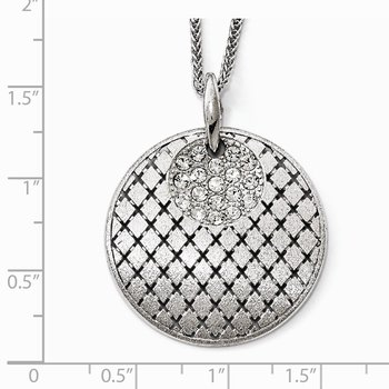 Leslie's Sterling Silver Brushed Preciosa Crystal Pendant