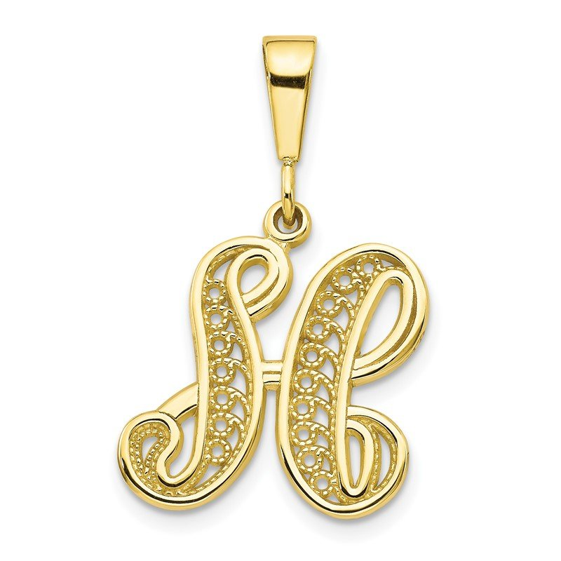 Quality Gold 10k Initial H Pendant