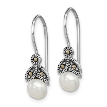 Sterling Silver Rhodium-plated FW Cultured Pearl Marcasite Earrings