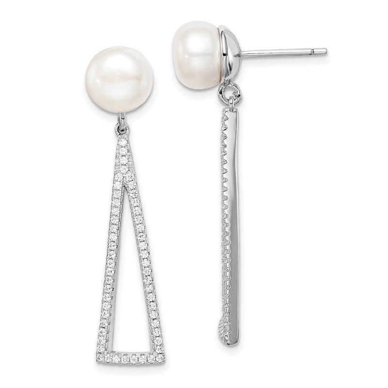 Quality Gold Sterling Silver Rhodium-plated 8-9mm White Button FWC Pearl CZ Earrings