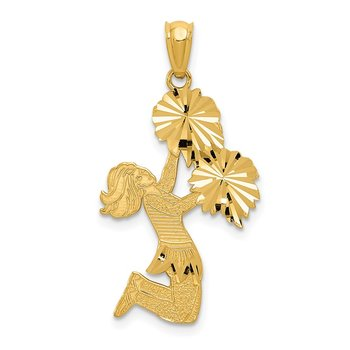 14k Diamond Cut Cheerleader Charm