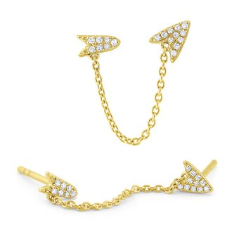 Gold and Diamond Single Arrow Earring