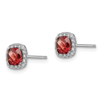 Sterling Silver Rhod-plated 1.2Garnet/Creat. White Sapphire Earrings