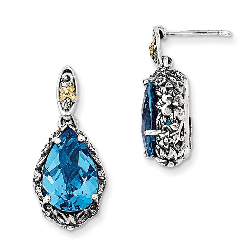 Shey Couture Sterling Silver w/14k Blue Topaz Post Dangle Earrings