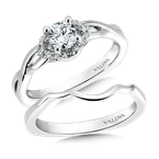 Valina Bridals Mounting with side stones .14 ct. tw., 3/8 ct. round center.