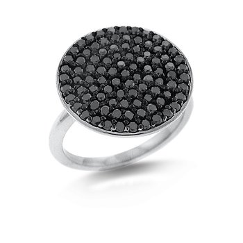 Black Diamond Disc Ring in 14k White Gold with 93 Diamonds weighing 1.07ct tw.
