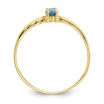 10k Polished Geniune Blue Topaz Birthstone Ring