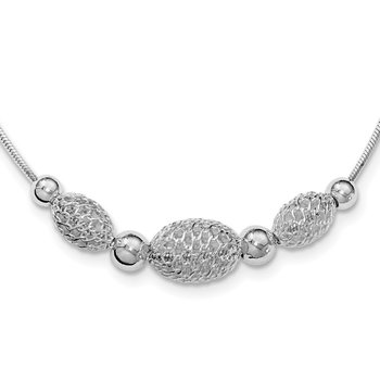 Sterling Silver Rhodium-plated Filigree Beads Fancy Chain Necklace
