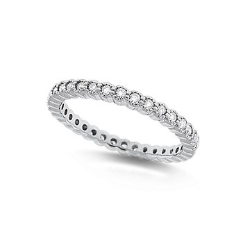 Diamond Bezel Set Eternity Band in 14k White Gold with 34 Diamonds weighing .34ct tw.