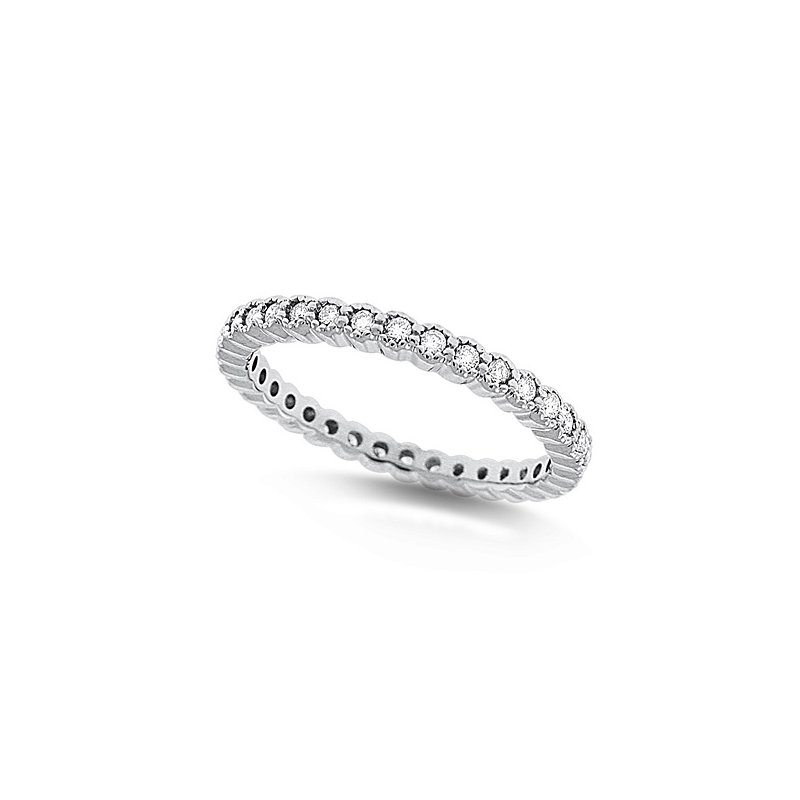KC Designs Diamond Bezel Set Eternity Band in 14k White Gold with 34 Diamonds weighing .34ct tw.