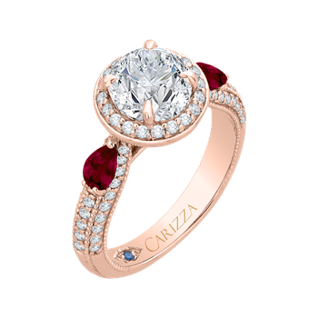 Round Diamond and Ruby Engagement Ring In 18K Rose Gold (Semi-Mount)