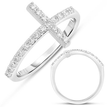 White Gold Cross Ring  2.0mm