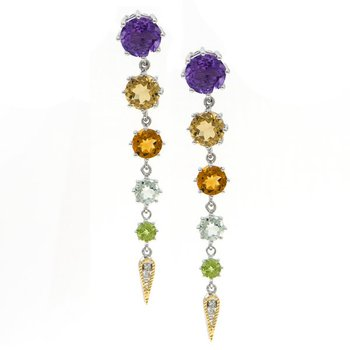 18kt and Sterling Silver Multi-Gem & Diamond Earrings (Amethyst, Lemon Quartz, Citrine, Green Amethyst, Peridot)